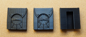 3D-printed utility pouches, including draft version & showing the Cliptech slot on the reverse side.